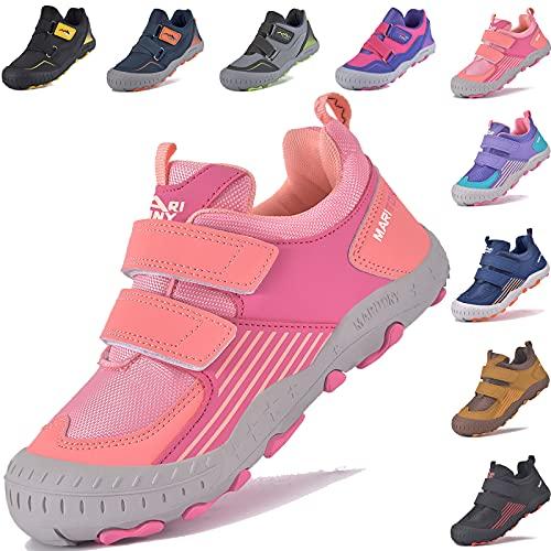 MARITONY Kinderschuhe Wanderschuhe Mädchen Trekkingschuhe Atmungsaktiv Kinder Laufschuhe rutschfest Turnschuhe Outdoor Sportschuhe Rosa 27EU
