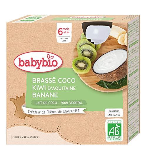 Babybio - Brassés Végétaux - Gourdes Brassé Lait de Coco Kiwi Banane 4x85 g - 6+ Mois - BIO