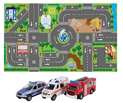 Kids Globe Spielteppich mit Auto Set (leuchtende Ampeln, Kinder-Teppich mit Feuerwehrauto Polizeiauto Rettungswagen, Größe 120x72 cm, inkl. Batterie) 570271+510176
