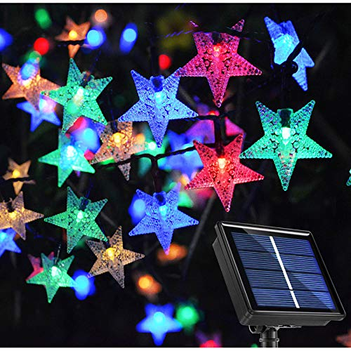 Ezzfairy Solar String Lights, 55Ft 120 LED Christmas Star Fairy Lights Multicoloured, 8 Modes Outdoor Solar Powered String Lights for Garden, Yard, Patio Umbrella, Porch, Christmas, Party