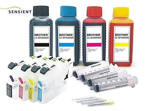 Hervulbare Quickfill Fill-in Easy Refill patronen LC-223 met Auto Reset Chips + 4 x 100 ml SENSIENT Refill-tinten zwart, cyaan, magenta, geel voor Brother