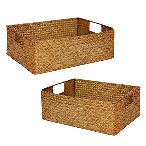 QULONG 2 uds cestas de Almacenamiento Tejidas Cesta de Almacenamiento de Mimbre Caja de Almacenamiento de ratán Tejido para decoración del hogar Caja organizadora Rectangular Tejida de ratán