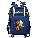 ZZGOO-LL Uzumaki Naruto/Sharingan/Uchiha Sasuke USB Mochila Backpack Casual Impermeable Viaje de Negocios con Unisex-A