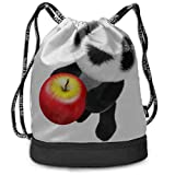 OKIJH Mochila Mochila de ocio Mochila con cordón Mochila multifuncional Bolsa de gimnasio Backpacking Backpack Fruit Cute Panda Animal Gym Drawstring Bags Backpack Sports String Bundle Backpack For Sp