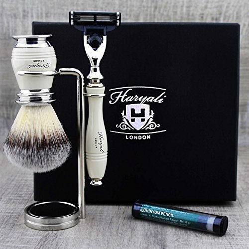 Haryali London Luxury Ivory Herren Rasierset 3 Edge Rasiermesser, Rasierpinsel, Rasierständer und Alaun Pencil