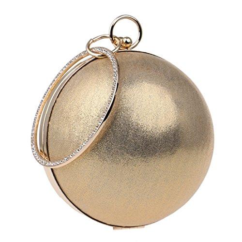 SUIWO Damen Clutch Glitzer Elegant Abendtasche Glä Damen Abendtasche Glitter Clutch Hochzeit Brautgeldbeutel-Cocktailparty-Abschlussball-Handtaschen-Kugel-runde Umhängetasche Kleid (Farbe : Gold)