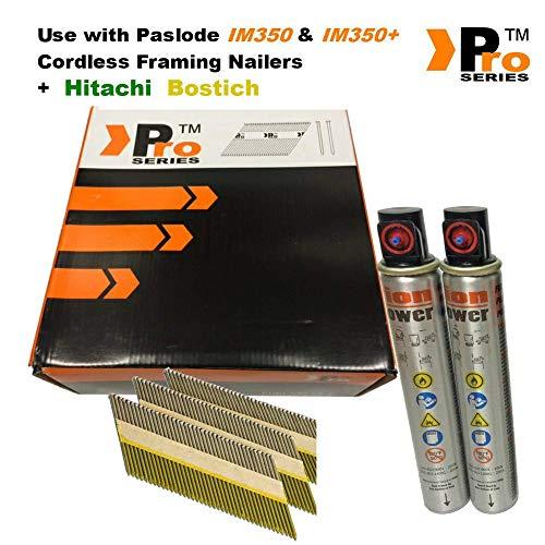 90mm und verzinktem Glatte Einrahmung Nägel, für Paslode/Hitachi Nailers eingeclipt, geringt; SN34DK, 2K Nägel & 2Fuel Zellen