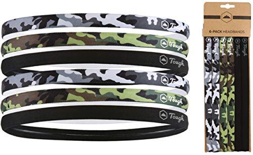 运动头带- 6包稀薄的发带为男人,女人,男孩和女孩-弹性头带-不滑硅胶抓地力(2黑色/ 2军用迷彩/ 2单色迷彩)