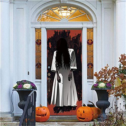 3D Kreative Türaufkleber Schlafzimmer Halloween-Horror Türen Renovierung Wasserdichte Tür Aufkleber Einfache Wohnzimmer Fensterbild 77X200Cm