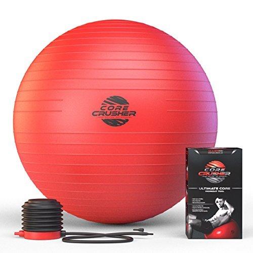 Ballon Suisse de Gym 65 cm avec pompe. - Le meilleur pour abdos stabilité et tonification des muscles. Idéal pour Cross Fit, Yoga et Pilates. Ebook offert inclus avec plus de 20 exercices et entraînements