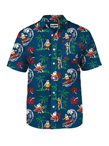 Tipsy Elves Christmas Aloha Shirt Surf's Up Santa Blue Short Sleeve Button Down for Men Size Large