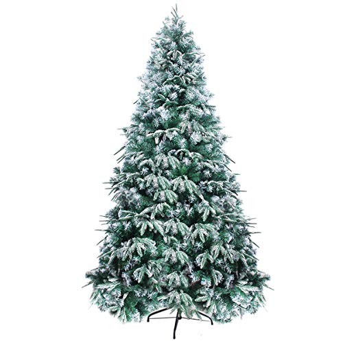 Lovezone 7.5ft Premium Artificial Christmas Tree , 1000 Flocked Snowy PE/PVC Branch Tips with Foldable Metal Stand