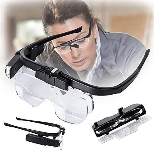 HAIT USB Ricaricabili Occhiali da Lettura, Lenti d'Ingrandimento Montate sulla Testa, con 2 Luci a LED e Lenti Rimovibili, 1.5X 2.5X 3.5X 4.5X, per Gioiellieri, Anziani Riparare