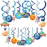 Kristin Paradise 30Ct Space Hanging Swirl Decorations, Galaxy Party Supplies, Outer Space Birthday Theme Decor for Boy Girl Baby Shower, Astronaut 1st Bday Favors Idea