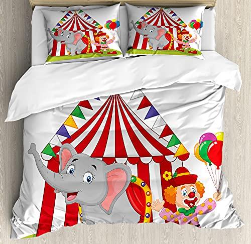ABAKUHAUS Dibujos Animados Funda Nórdica, El Elefante del Circo Carpa, Decorativo 3 Piezas con 2 Fundas de Almohada, 230 x 220 cm - 70 x 50 cm, Multicolor