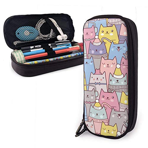 HHELI Color Cat PU Leather Pencil Case Large Capacity Zipper Pen Stationery Bag for Middle High School College Student Office Girls Boys Kids Adult, School Stationery Storage Organizer Makeup Bag