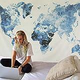 Dremisland Tapiz de Pared Vendimia Tapiz Mapa del Mundo Tapiz Mandala Hippie Azul Blanco Mural Tela Decoración del Hogar Estera de Yoga (Mapa del Mundo Azul, L / 148 X 200 cm)