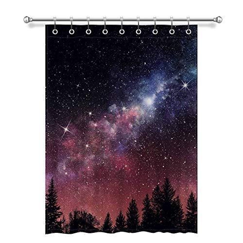 Nmfdz Forest Tree in Galaxy Stary Night Sky and Milky Way Blackout Window Curtain Panels Thermal Insulated Window Curtain with Rings for Living Room Bedroom, 52 x 72 Length, 1 Pc#04-Fashion