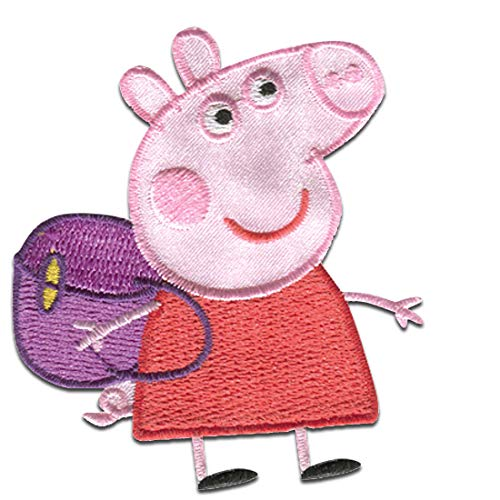 Parches - Peppa Pig 'Mochila' - rojo - 6,0 x 7,0 cm - Entertainment One © termoadhesivos bordados aplique para ropa