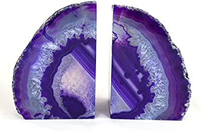 StarStuff.Rocks Purple Agate Quartz Geode Book Ends - Made from the finest grade Brazilian agate
