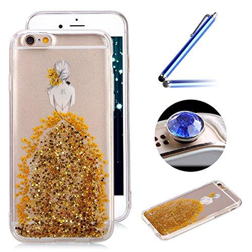 iPhone 6 Plus/6S Plus Coque,Etsue étuis pour Téléphones pour iPhone 6 Plus/6S Plus,Cristal Clair Ultra-Mince Shiny Glitter Cristal TPU Silicone Tranparente Coque de Téléphones pour iPhone 6 Plus/6S Plus,Rempli Cristal et Vrai de Fleur compression Protecteur Coque Housse Case Cover pour iPhone 6 Plus/6S Plus + 1 x Bleu stylet + 1 x Bling poussière plug (couleurs aléatoires)- d'or