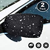 Side View Mirror Cover Frost Guard Mirror Cover Auto Rearview Protection Cover Snow Ice Mirror Covers Exterior Rear View Accessories Universal Size for Cars, Black (2 Pieces)