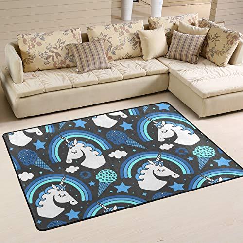 SENNSEE niedliche Einhörner mit EIS Fußmatte 61x 91,4cm Innen Outdoor Entrance Wohnzimmer Fußmatte Eintrag Veranda Teppich Rutschfeste, Polyester, Multi, 72 x 48 inch