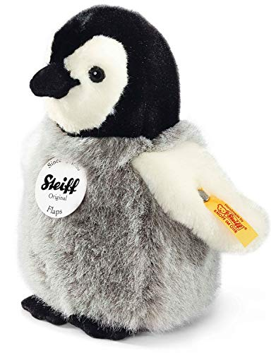 Steiff Flaps Pinguin - 16 cm - Plüschpinguin - Kuscheltier für Kinder - weich & waschbar - schwarz / weiß / grau (057144)