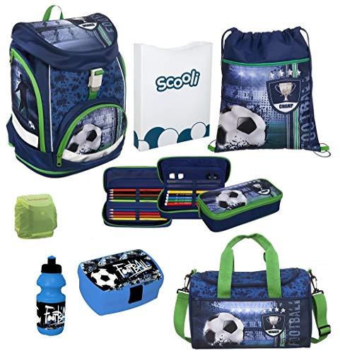 Familando Fußball Schulranzen-Set 8 TLG. mit Brotzeit-Dose, Trink-Flasche und Regenschutz Leicht-Gewicht nur 970 Gramm