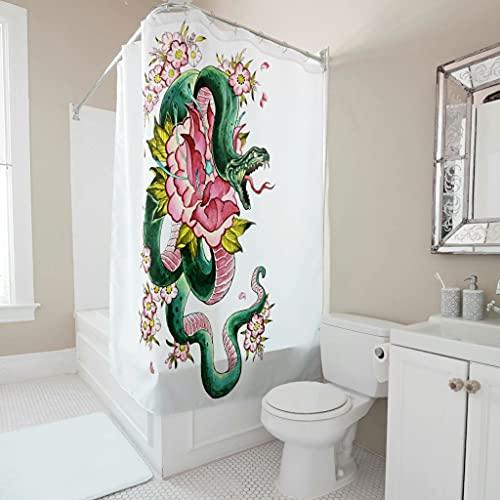 kikomia Langlebig Duschvorhang Aquarell Schlange Malerei Druck Bad Duschvorhang für Duschen white 180x180cm