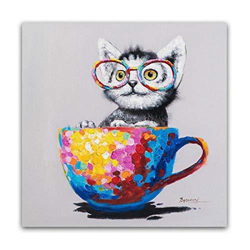 dayanzai Mignon Animal Toile Imprimer Lunettes De Vue Chat Peinture À l'huile Pop Art Affiches sur Le Mur Salon Décor Affiche Moderne Et Imprimer-50X50Cm-Pas De Cadre