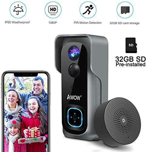 Video Timbre Inteligente con Cámara 1080P HD, IP65 Resistente a la intemperie, Gran Ángulo de 166°, Visión Nocturna, Conmunicación Bidireccional, Detección de Movimiento PIR para iOS y Android