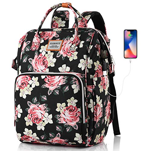 SUEBEKUE Rucksack Damen,Tagesrucksack Frauen Schultasche Damen mit USB Ladeanschluss und RFID Schutz für Freizeit Uni Alltag Büro Arbeit