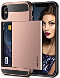 Vofolen Case for iPhone X Case iPhone XS Wallet Card Holder Slot Sliding Cover ID Pocket Dual Layer Bumper Anti-Scratch Protective Hard Shell Hybrid Rubber Armor for Apple iPhone X XS 10 10S Rose Gold
