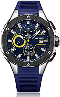 Megir Mens Quartz Watch, Chronograph Display and Silicone Strap - 2053G