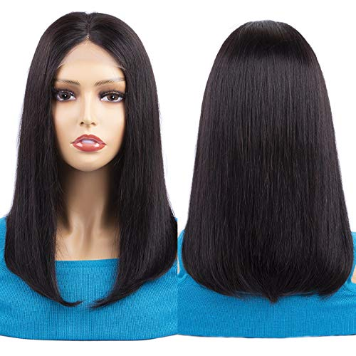 Lace Front Wigs Human Hair Bob Wigs 4x4 Lace Closure Remy Human Hair Wigs Pre Plucked Natural Color Straight Lace Front Bob Wigs Middle Part Short Bob Wigs 14 Inch