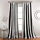 Lush Decor Wilbur Room Darkening Striped Window Panel Curtains Set (Pair), 84' L, Black