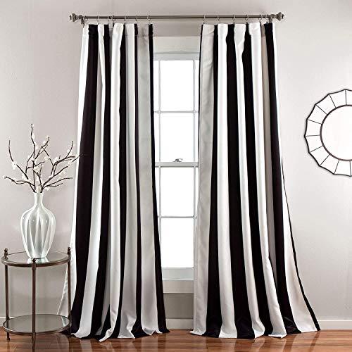 "Lush Decor Wilbur Room Darkening Striped Window Panel Curtains Set (Pair), 84"" L, Black"