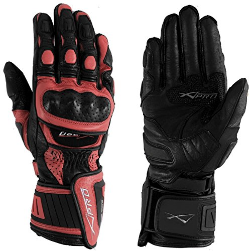 A-Pro Motorradhandschuher Motorrad hochwertige Handschuhe Leder Rot XL