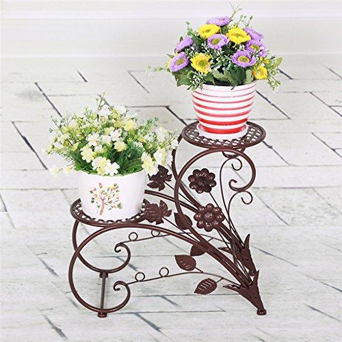 KK- étagères de Fleurs en Fer de Style européen pastorales à Deux étages étagères à Fleurs Salon intérieur Pots de Balcon (Couleur: Bronze)