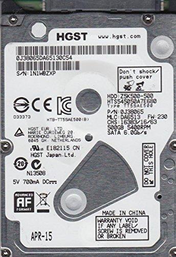 HTS545050A7E680, PN 0J38065, MLC DA6513, Hitachi 500GB SATA 2.5 Festplatte