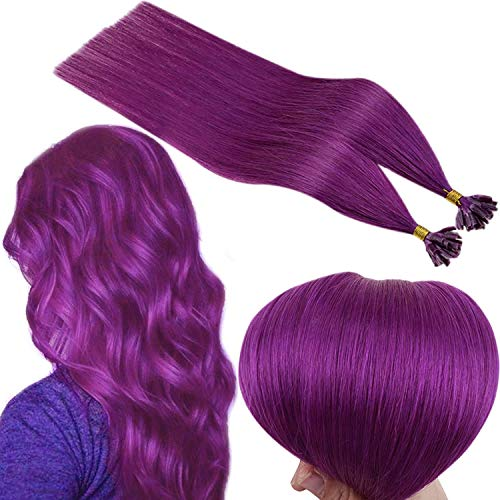 Runature Natural Hair Extensions With Keratin 18 Pollice 45 Cmcolore Purple (Capelli Lisci) 25G Hair Extension U Tip