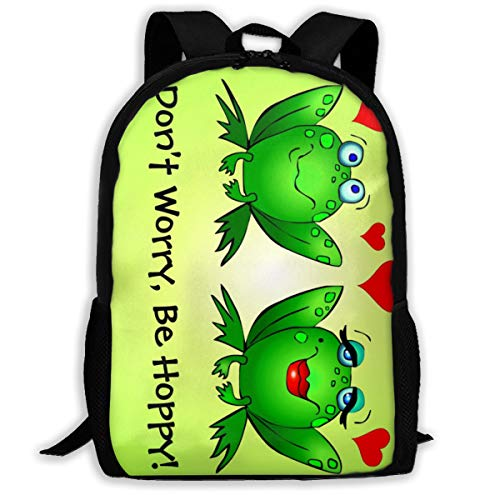 Frogs In Love Don'T Worry Be Hoppy Print School Backpack For Boys Girls School Book Bags Leisure Travel