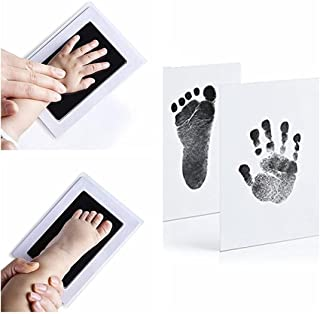 Baby Hand and Footprint kit, Foot and Handprint, Hand Foot Impression Print DIY, No Touch, Safe Non Toxic Ink pad, (Black)...