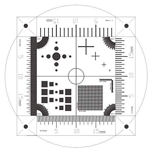BoliOptics Microscope Stage Calibration Slide, Multi-Functional Micrometer Measuring Ruler, Glass (Dot, Cross Line, Square, Net Grid Checkerboard) Linear Scale 0.1mm, 0-20mm RT20221103