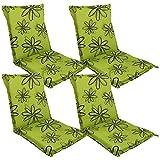 DILUMA Niedriglehner Auflage Naxos für Gartenstühle 98x49 cm 4er Set Blume Grün - 6 cm Starke Stuhlauflage mit Komfortschaumkern und Bezug aus Baumwoll-Mischgewebe - Made in EU mit ÖkoTex100