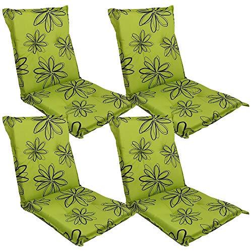 DILUMA Niedriglehner Auflage Naxos für Gartenstühle 98x49 cm 4er Set Blume Grün - 6 cm Starke Stuhlauflage mit Komfortschaumkern und Bezug aus 100% Baumwolle - Made in EU mit ÖkoTex100