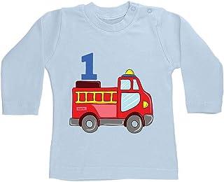 HARIZ Camiseta de manga larga para bebé, diseño de coche de bomberos, idea de regalo para cumpleaños, incluye tarjeta de r...