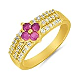 Stone : Ruby Metal : Brass Alloy Plating : 24K Gold Plating Stone Color : Pink
