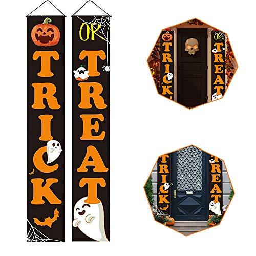 Seully Banner de Decoración de Puerta de Halloween,Cartel de Halloween de Truco o Trato,Decoraciones de Halloween para el Hogar Interior/Exterior,Decoración de Fiesta de Halloween, 30 cm * 180 cm